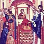 Die Niederlegung des ehrwürdigen Kleides der Gottesgebärerin im Vlachernenpalast, Juvenalios von Jerusalem