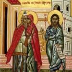 Die Empfängnis des ehrwürdigen Vorläufers, die Schwestern Xanthippi und Polyxeni