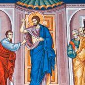 Die Berührung des heiligen Apostels Thomas, Johannes der Theologe, Arsenios der Große